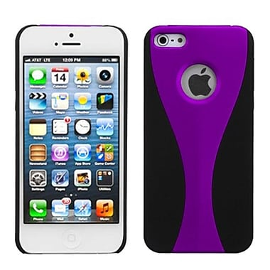 Insten® Wave Rubberized Phone Back Protector Cover F/iPhone 5/5S, Purple/Black
