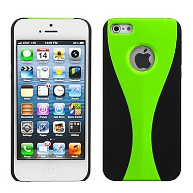 Insten® Wave Rubberized Phone Back Protector Cover F/iPhone 5/5S, Green/Black