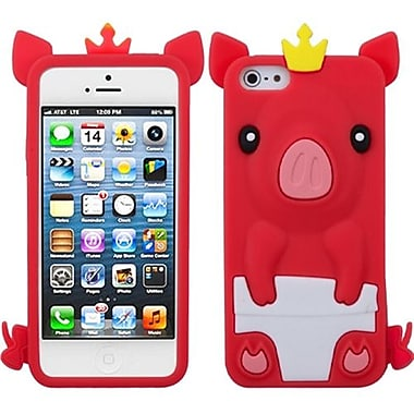 Insten® Pastel Skin Cover F/iPhone 5/5S, Red Crown Piggie