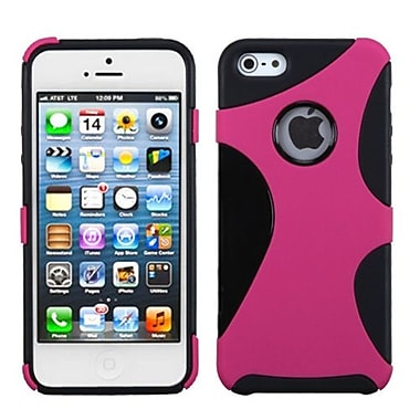 Insten® Cragsman Mixy Rubberized Phone Protector Cover F/iPhone 5/5S, Hot-Pink/Black