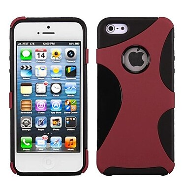 Insten® Cragsman Mixy Rubberized Phone Protector Cover F/iPhone 5/5S, Red/Black