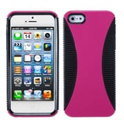 Insten® Mixy Phone Protector Cover F/iPhone 5/5S, Hot-Pink/Black