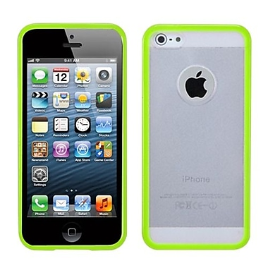 Insten® Gummy Cover F/iPhone 5/5S, Transparent Clear/Solid Green