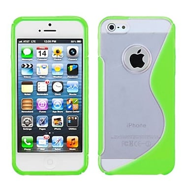 Insten® Gummy Cover F/iPhone 5/5S, Transparent Clear/Solid Green S-Shape