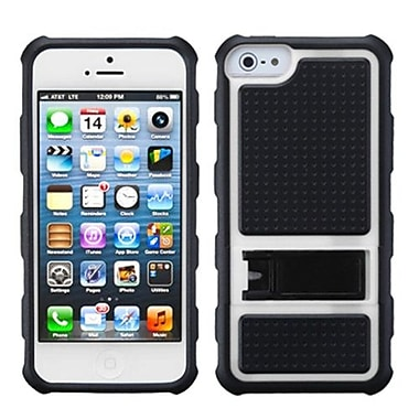 Insten® Gummy Cover W/Armor Stand F/iPhone 5/5S, White