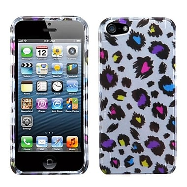 Insten® Phone Protector Cover F/iPhone 5/5S, Jagged Colorful Leopard (2D Silver)
