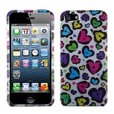 Insten® Phone Protector Cover F/iPhone 5/5S, Dimpled Hearts (2D Silver)