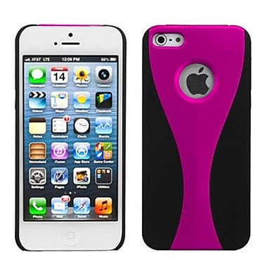 Insten® Wave Rubberized Phone Back Protector Cover F/iPhone 5/5S, Hot-Pink/Black