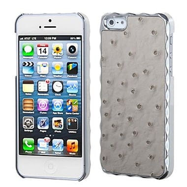 Insten® Alloy Executive Back Protector Cover F/iPhone 5/5S, Gray Silver Plating Ostrich