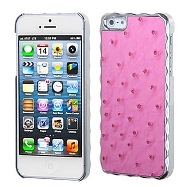 Insten® Alloy Executive Back Protector Cover F/iPhone 5/5S, Hot-Pink Silver Plating
