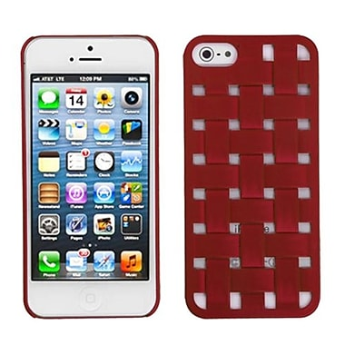 Insten® Rubberized Weave Texture Back Protector Cover F/iPhone 5/5S, Red