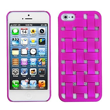 Insten® Rubberized Weave Texture Back Protector Cover F/iPhone 5/5S, Hot-Pink
