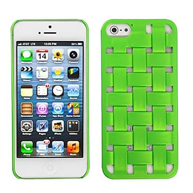 Insten® Rubberized Weave Texture Back Protector Cover F/iPhone 5/5S, Dr Green