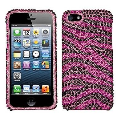 Insten® Diamante Protector Cover F/iPhone 5/5S, Hot-Pink/Black Zebra Skin