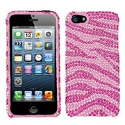 Insten® Diamante Protector Cover F/iPhone 5/5S, Pink/Hot-Pink Zebra Skin