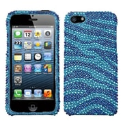 Insten® Diamante Protector Cover F/iPhone 5/5S, Baby Blue/Dark Blue Zebra Skin