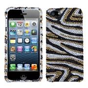 Insten® Diamante Phone Protector Cover F/iPhone 5/5S, Golden Zebra Skin
