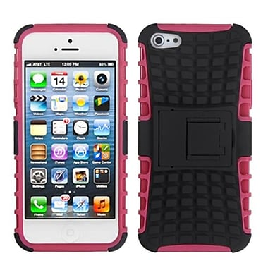 Insten® Rubberized Protector Cover W/Advanced Armor Stand F/iPhone 5/5S, Black/Hot-Pink