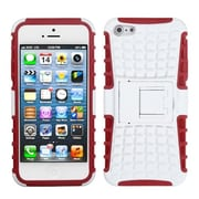 Insten® Rubberized Protector Cover W/Advanced Armor Stand F/iPhone 5/5S, White/Red