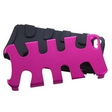 Insten® Fishbone Phone Protector Cover F/iPhone 5/5S, Titanium Hot-Pink/Black
