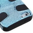 Insten® Fishbone Phone Protector Cover F/iPhone 5/5S, Baby Blue Plating Matte Wrinkle/Black