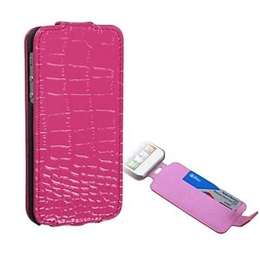 Insten® Crocodile Skin MyJacket Wallet Case W/Card Slot F/iPhone 5/5S, Hot-Pink