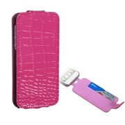 Insten® Crocodile Skin MyJacket Wallet Case W/Card Slot F/iPhone 5/5S, Hot-Pink