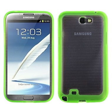 Insten® Stripes Gummy Case For Samsung Galaxy Note II (T889/I605), Transparent Clear/Solid Green