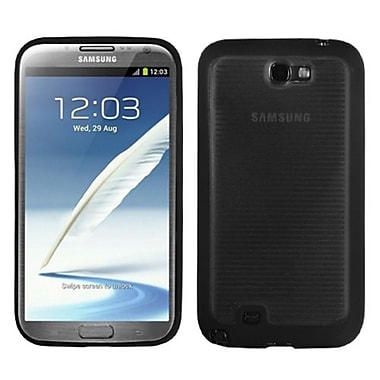 Insten® Stripes Gummy Case For Samsung Galaxy Note II (T889/I605), Transparent Smoke/Solid Black
