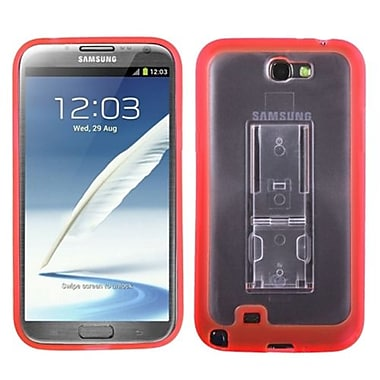 Insten® Gummy Case W/Stand For Samsung Galaxy Note II (T889/I605), Transparent Clear/Solid Red