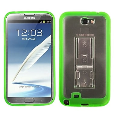 Insten® Gummy Case W/Stand For Samsung Galaxy Note II (T889/I605), Transparent Clear/Solid Green