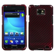 Insten® Phone Protector Case For Samsung I777 Galaxy S2, Racing Fiber/Red Silver