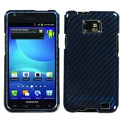 Insten® Phone Protector Case For Samsung I777 Galaxy S2, Racing Fiber/Blue Silver