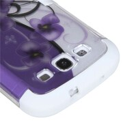 Insten® Hybrid Phone Protector Case For Samsung Galaxy SIII, Twilight Petunias Silver/Solid White