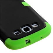 Insten® Rubberized TUFF Hybrid Phone Protector Case F/Samsung Galaxy SIII, Black/Electric Green