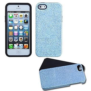 Insten® Fusion Protector Cover F/iPhone 5/5S, Baby Blue Plating Matte Wrinkle/Black