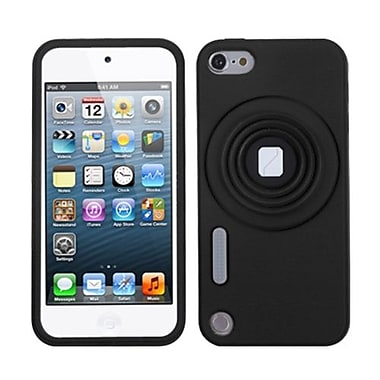 Insten® Camera Style Stand Pastel Skin Cover With Lanyard For iPod Touch 5th Gen, Black