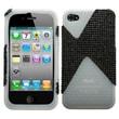 Insten® Diamante/Diamond Veins Dual Protector Cover F/iPhone 4/4S, Black/Black/T-Clear