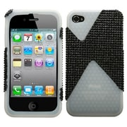 Insten® Diamante/Diamond Veins Dual Protector Cover F/iPhone 4/4S, Black/Black/T-Clear