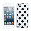 Insten® Polka Dots Design TPU Plastic Gummy Skin Phone Cover For iPod Touch 5th Gen, White/Black