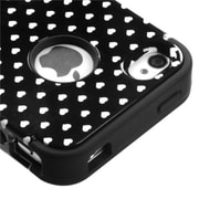 Insten® TUFF Hybrid Phone Protector Cover F/iPhone 4/4S, Black Vintage Heart Dots/Black