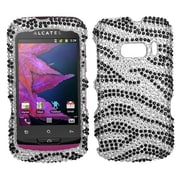 Insten® Diamante Protector Case For Alcatel One Touch 918, Black Zebra
