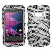 Insten® Diamante Protector Case For Alcatel One Touch 918, Black Zebra