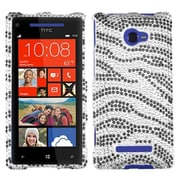 Insten® Diamante Protector Case For HTC Windows Phone 8X, Black Zebra