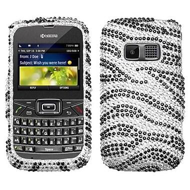 Insten® Zebra Skin Diamante Protector Case For Kyocera S3015 Brio, Black