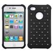 Insten® Luxurious Lattice Dazzling TotalDefense Protector Cover F/iPhone 4/4S, Black/Black