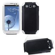 Insten® Frosted Fusion Protector Case For Samsung Galaxy SIII, Black/White