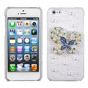 Insten® Pearl 3D Diamante Back Protector Cover F/iPhone 5/5S, Blue-Dot Butterfly