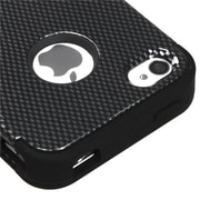 Insten® TUFF Hybrid Phone Protector Cover F/iPhone 4/4S, Carbon Fiber/Black