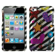 Insten® Phone Faceplate Case For iPod Touch 4th Gen, Color Heart 2D Silver
